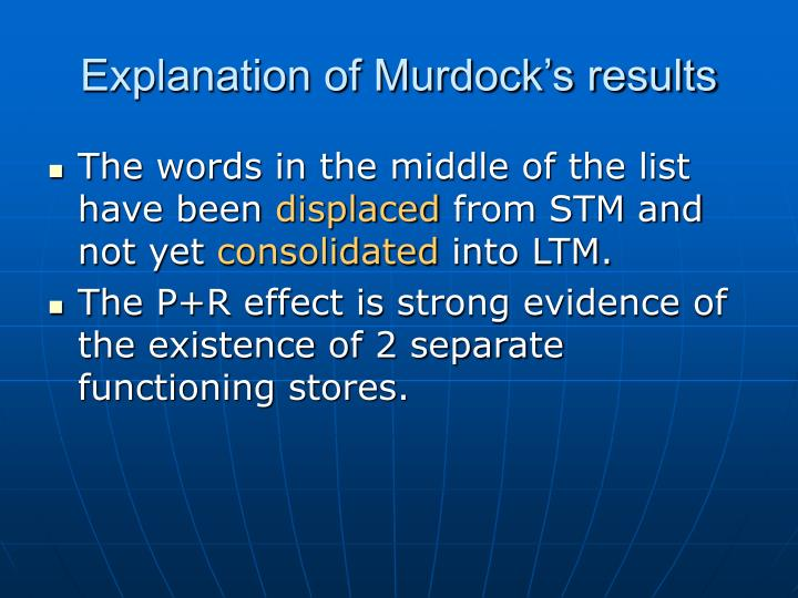 Explanation of Murdock's results