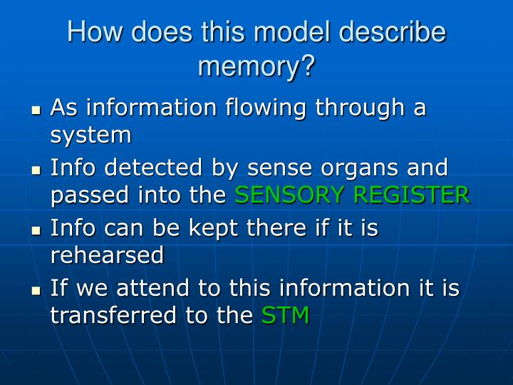 How does this model describe memory?