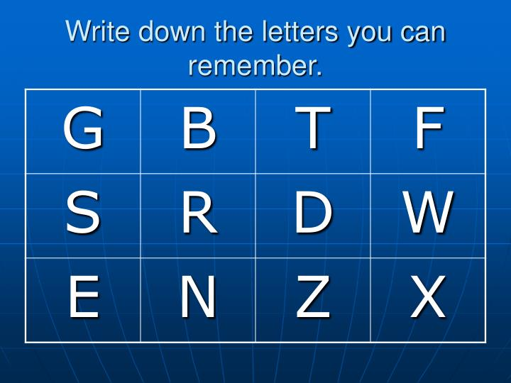 Write down the letters you can remember.