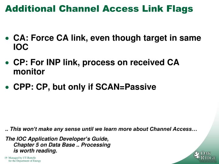Additional Channel Access Link Flags