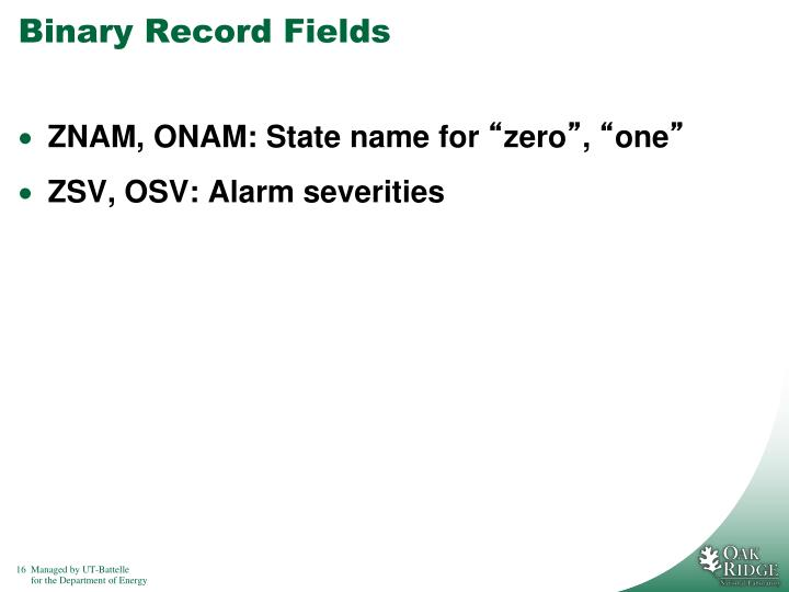 Binary Record Fields