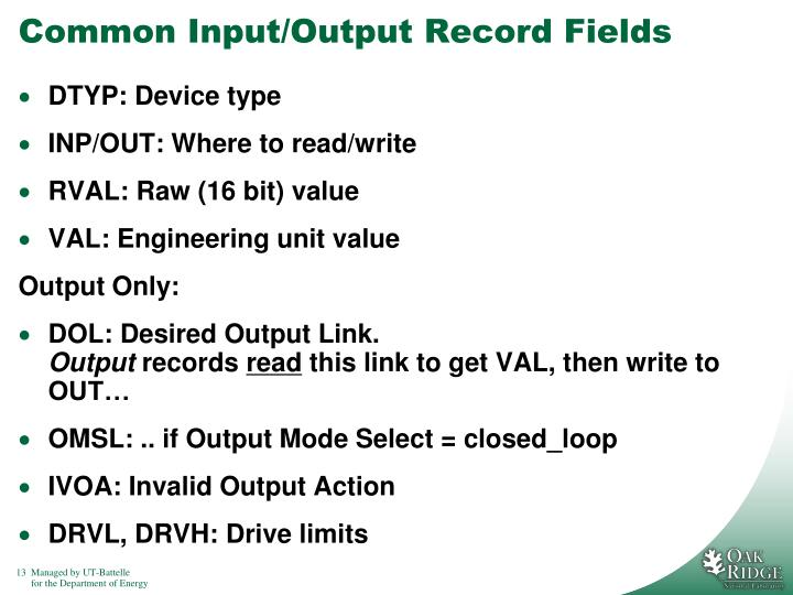 Common Input/Output Record Fields