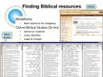 finding biblical resources