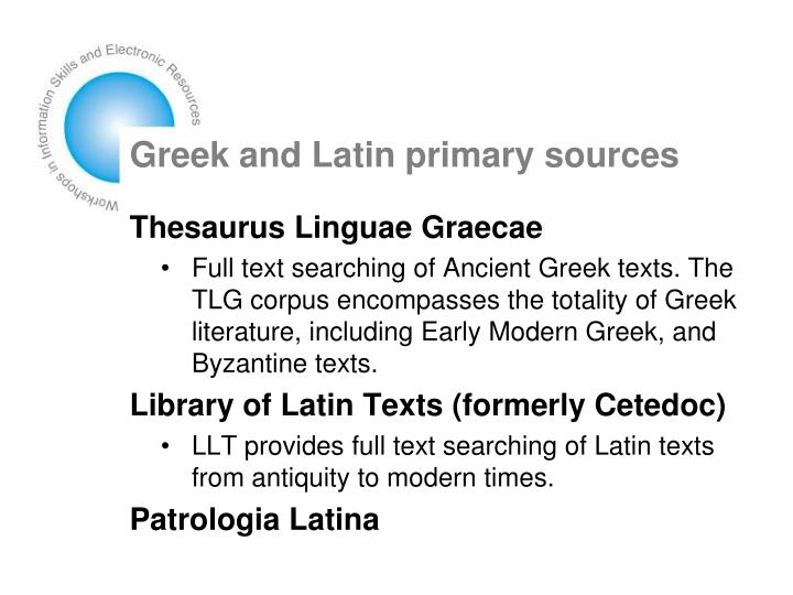 Greek and Latin primary sources
