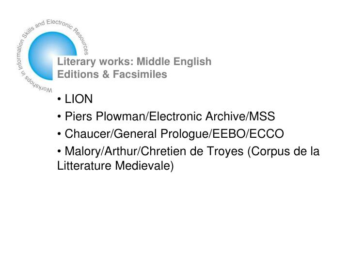 Literary works: Middle English