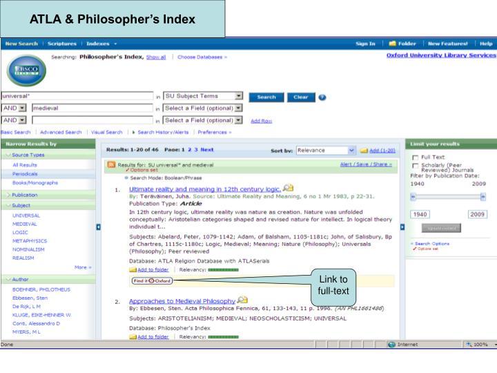 ATLA & Philosopher's Index