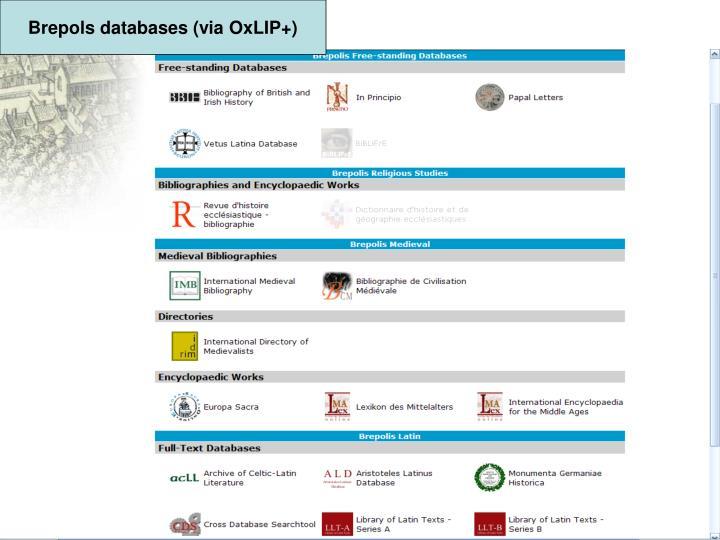 Brepols databases (via OxLIP+)