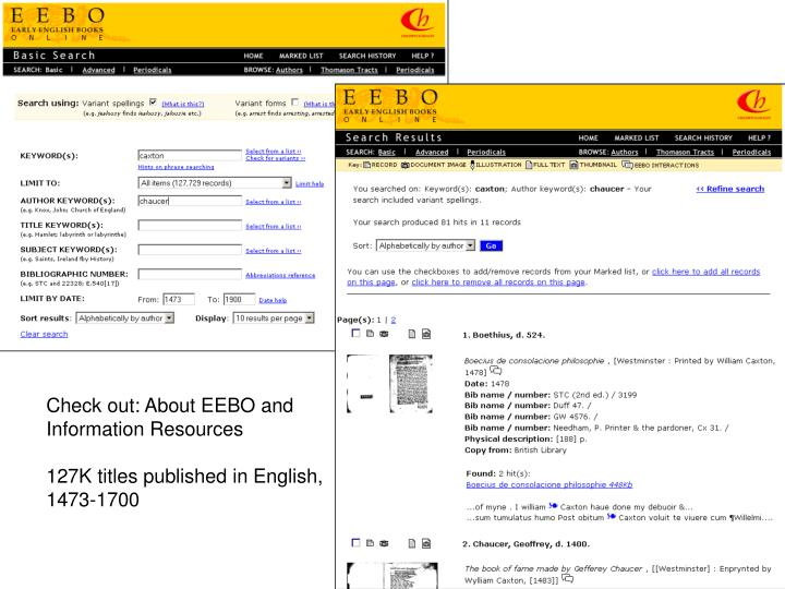 Check out: About EEBO and