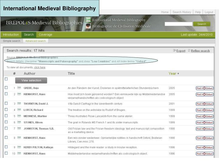 International Medieval Bibliography