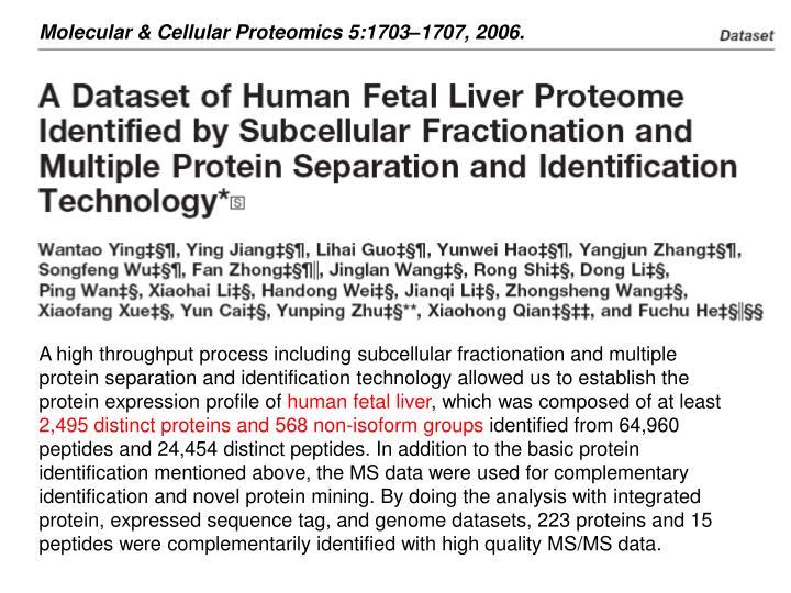 Molecular & Cellular Proteomics 5:1703–1707, 2006.