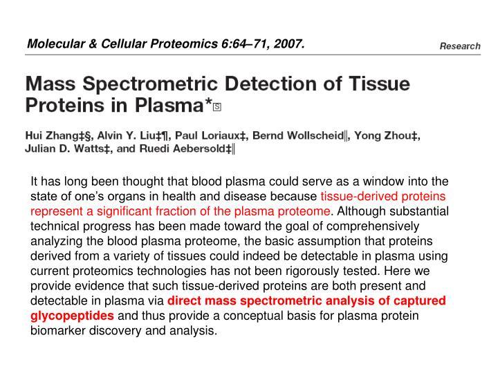 Molecular & Cellular Proteomics 6:64–71, 2007.