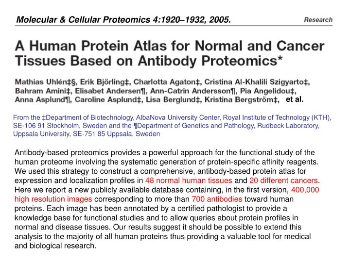 Molecular & Cellular Proteomics 4:1920–1932, 2005.