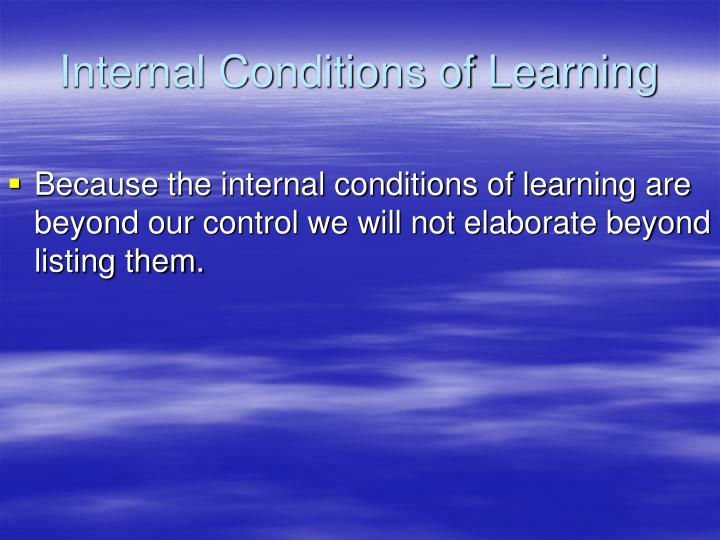Internal Conditions of Learning