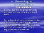 presenting the stimulus material mathematics