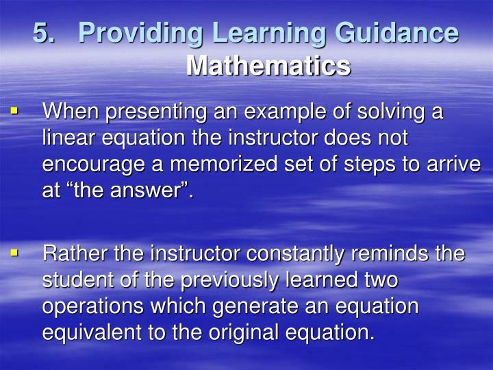 Providing Learning Guidance