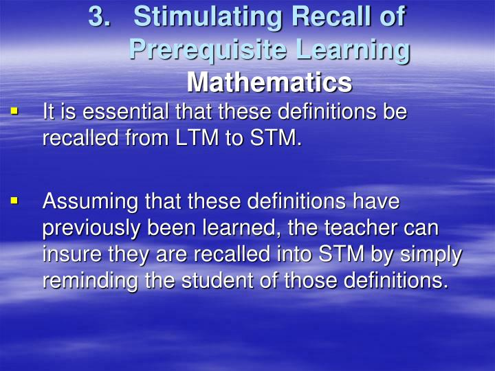 Stimulating Recall of Prerequisite Learning