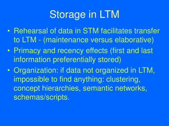 Storage in LTM