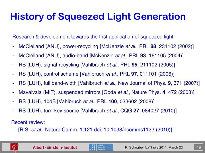 History of Squeezed Light Generation
