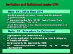 invitation and enlistment under ltm