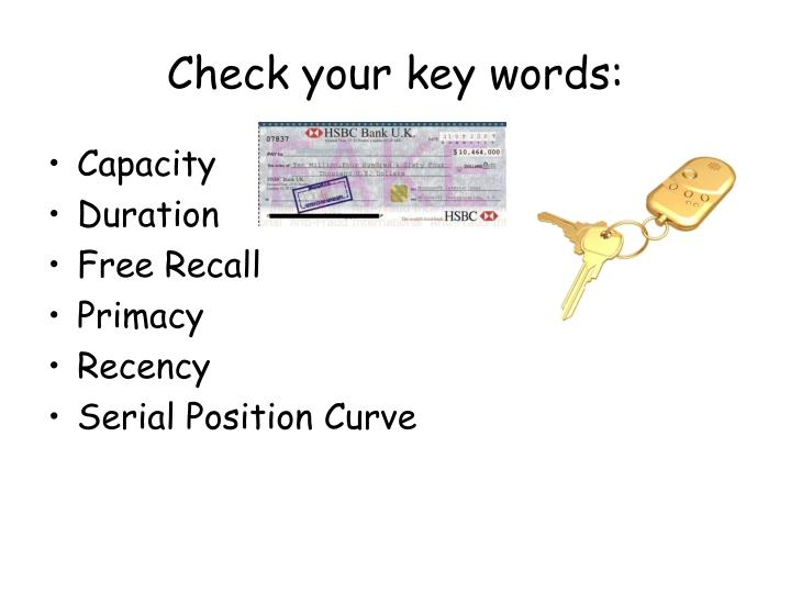 Check your key words: