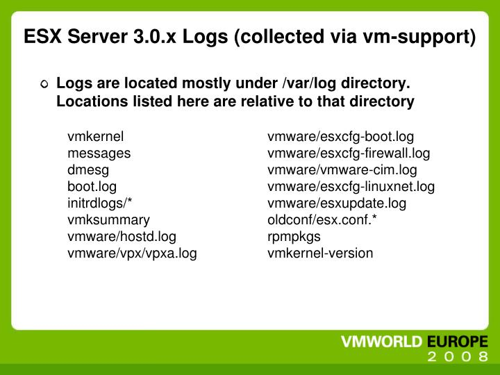 ESX Server 3.0.x Logs (collected via vm-support)