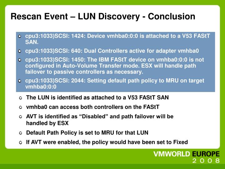 Rescan Event – LUN Discovery - Conclusion