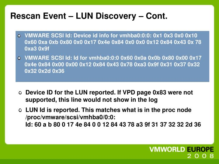 Rescan Event – LUN Discovery – Cont.