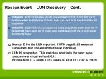 rescan event lun discovery cont
