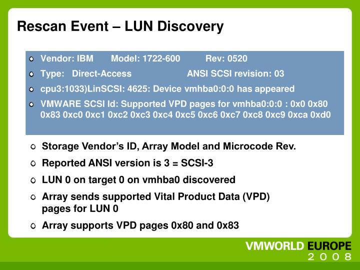 Rescan Event – LUN Discovery
