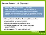 rescan event lun discovery