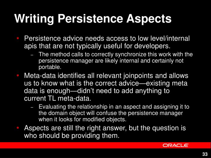 Writing Persistence Aspects