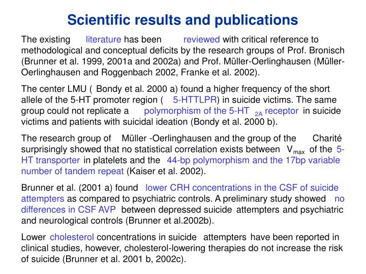 Scientific results and publications