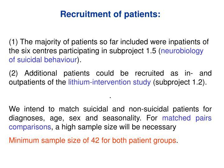 Recruitment of patients:
