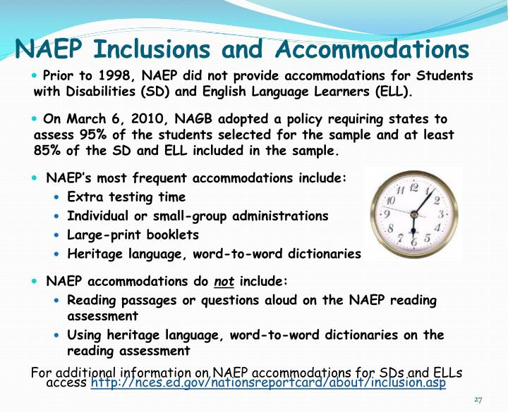 NAEP Inclusions and Accommodations
