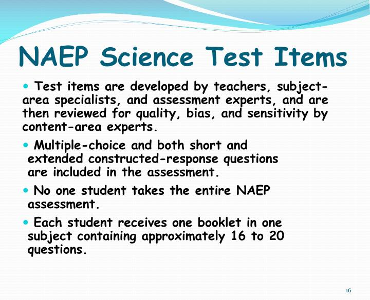 NAEP Science Test Items