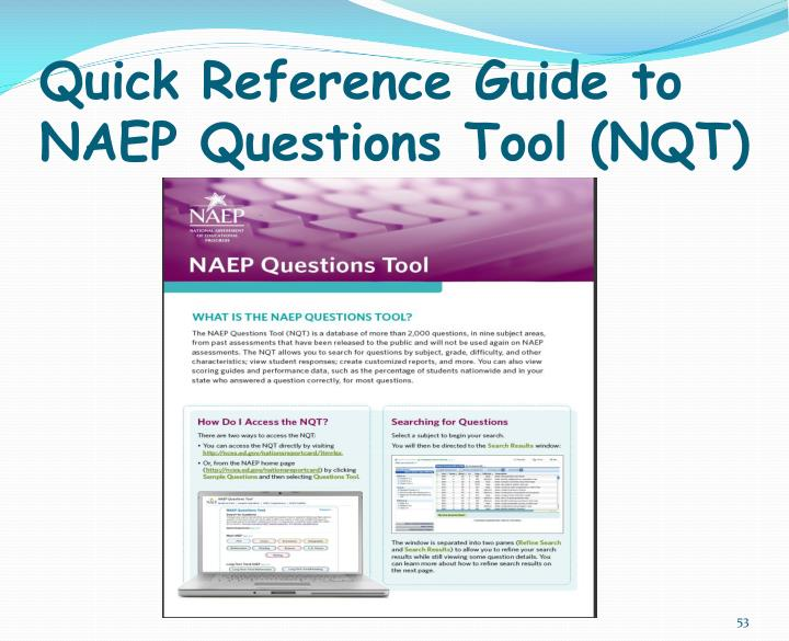 Quick Reference Guide to NAEP Questions Tool (NQT)