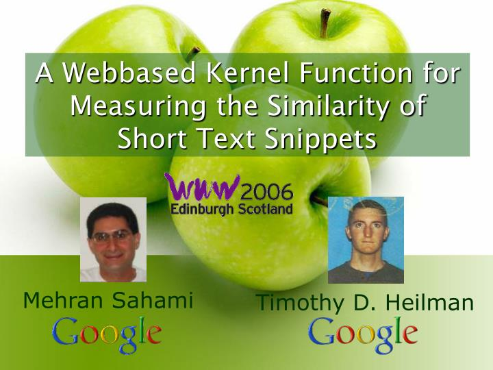 A Webbased Kernel Function for