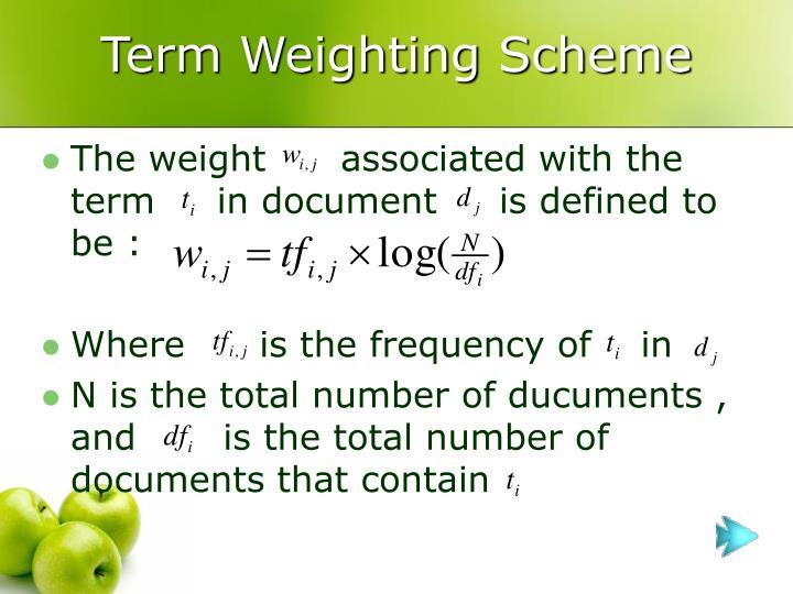 Term Weighting Scheme