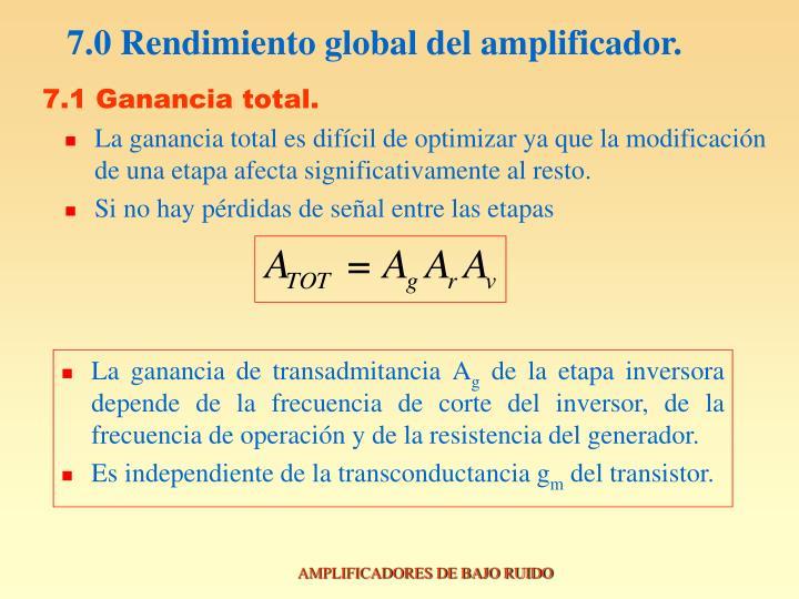 7.0 Rendimiento global del amplificador.