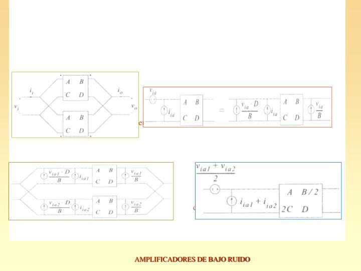 a)conexión paralelo dispositivos complementarios.  b)Transf. Ruido dispositivo.