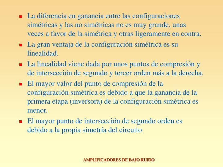 La diferencia en ganancia entre las configuraciones simétricas y las no simétricas no es muy grande, unas veces a favor de la simétrica y otras ligeramente en contra.