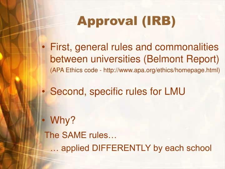 Approval irb
