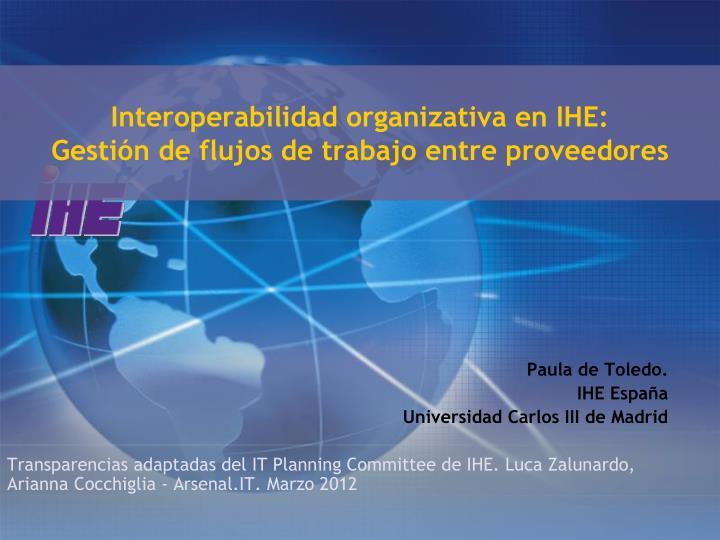 Interoperabilidad organizativa en IHE: