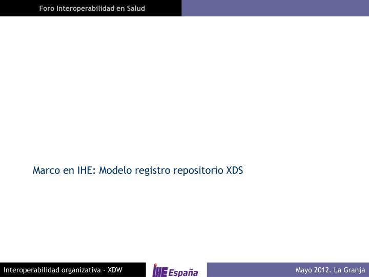 Marco en IHE: Modelo registro repositorio XDS