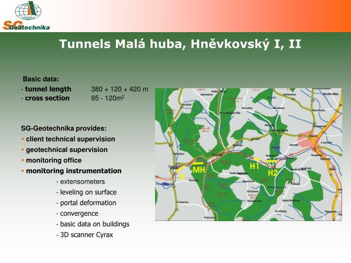 Tunnels Malá huba, Hněvkovský I, II