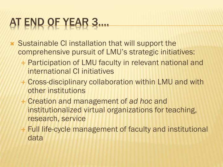 Sustainable CI installation that will support the comprehensive pursuit of LMU's strategic initiatives: