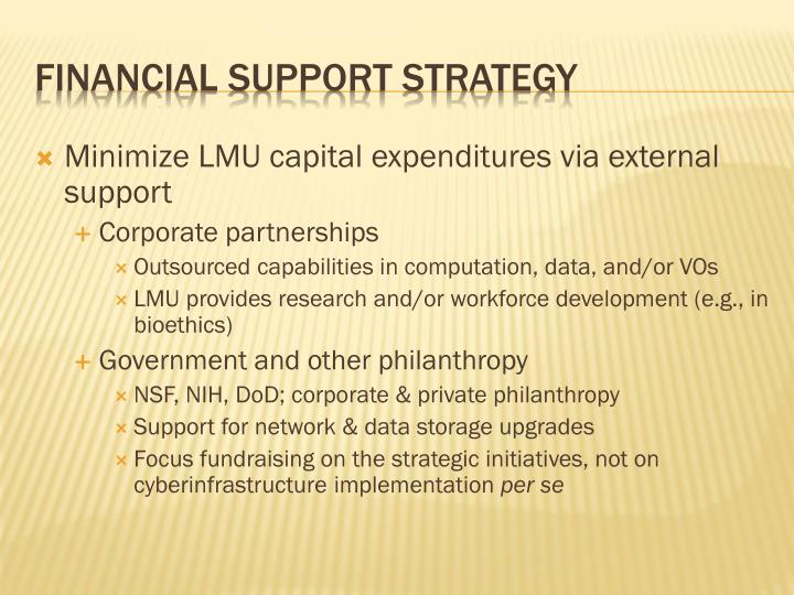 Minimize LMU capital expenditures via external support