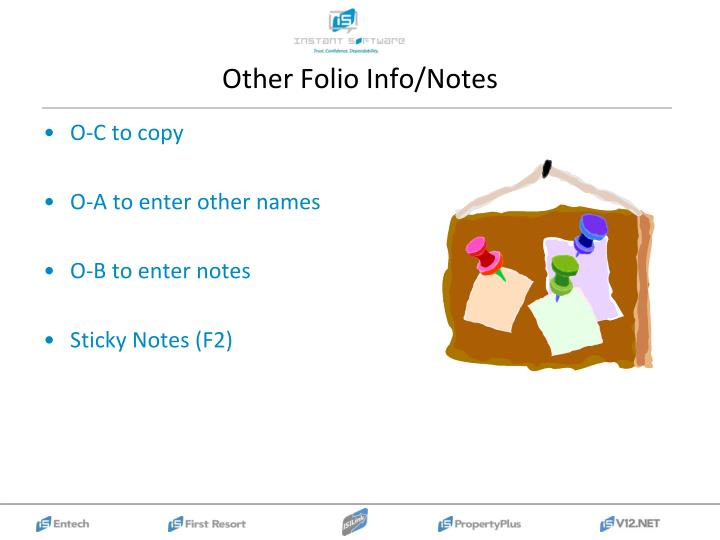Other Folio Info/Notes