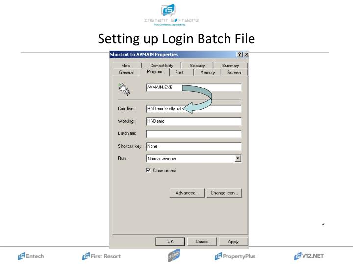 Setting up Login Batch File