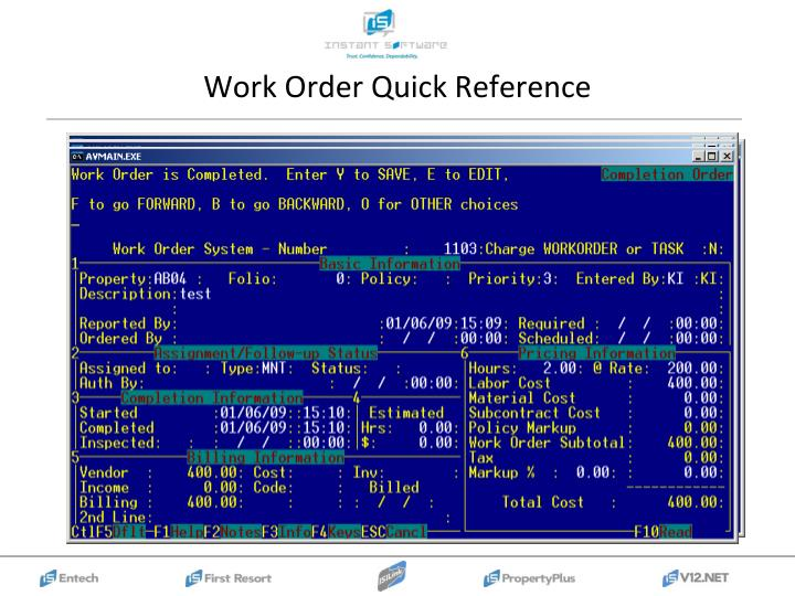 Work Order Quick Reference